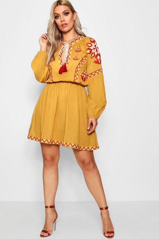 Plus Cindy Embroidered Tie Smock Dress