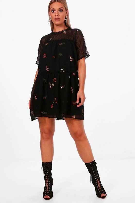 Plus Demi Embroidered Smock Dress