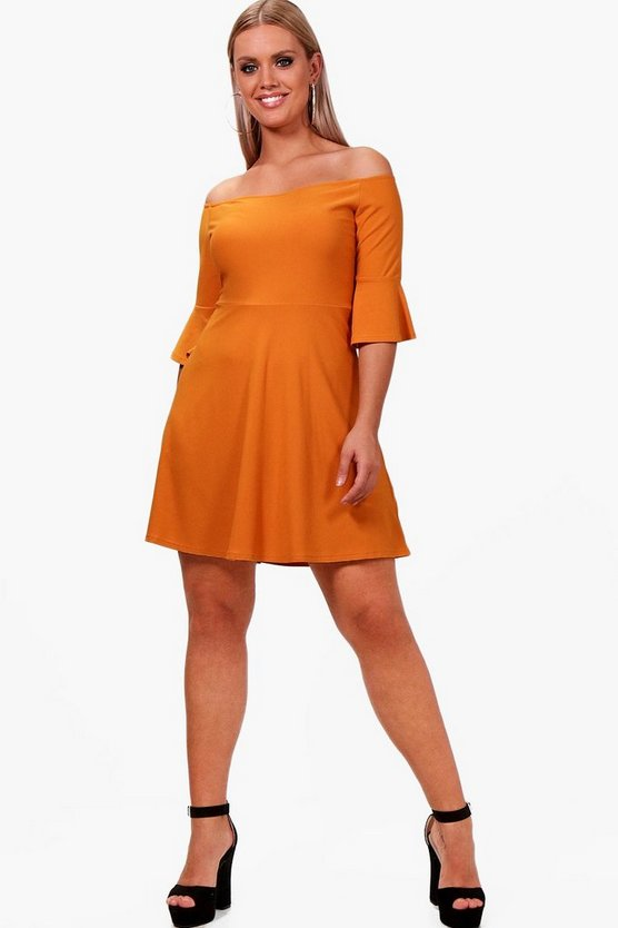 Plus Off The Shoulder Ruffle Skater Dress