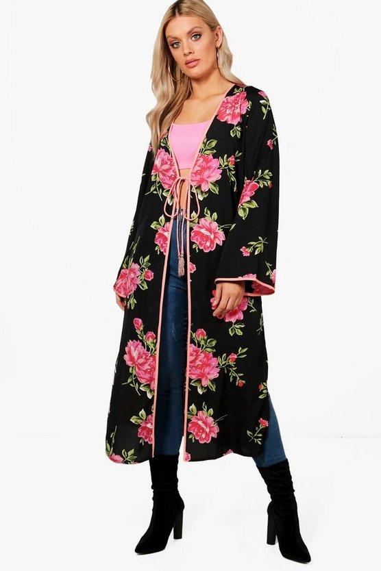 Plus Tie Waist Kimono by Boohoo