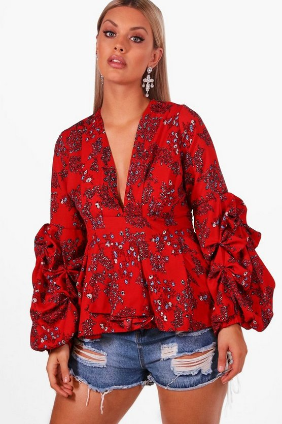 Plus Floral Ruched Sleeve Smock Top