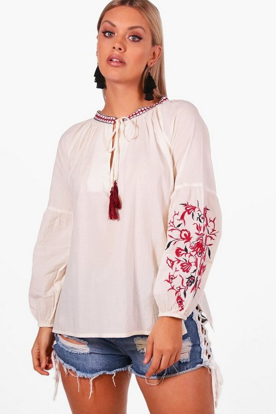 Plus Embroidered Boho Blouse