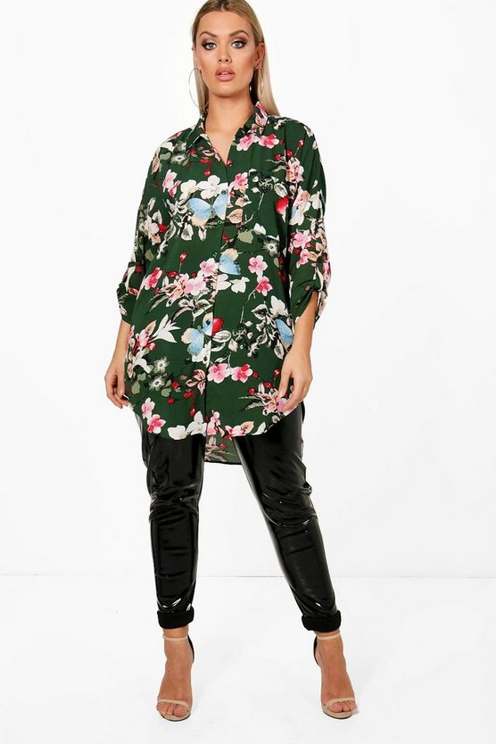 Plus Tracy Floral Oversized Shirt