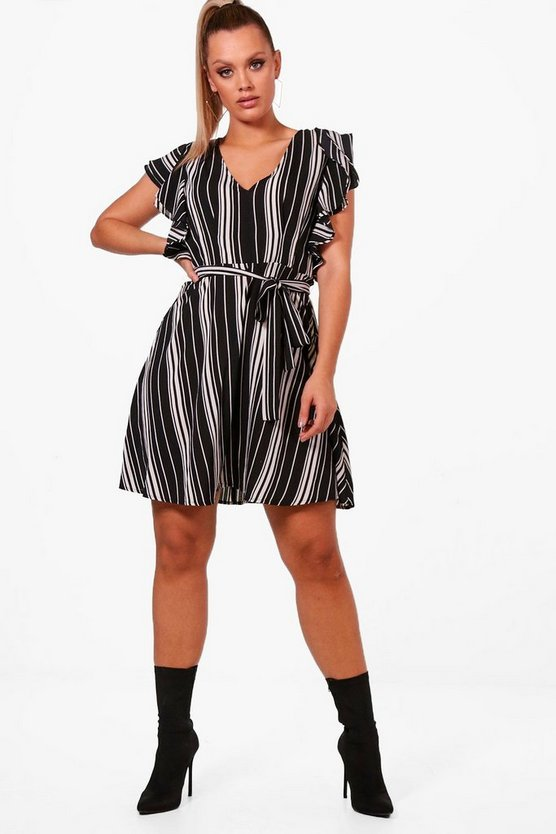 Plus Ella Woven Stripe Ruffle Sleeve Skater Dress