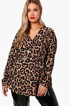 Plus Heidi Leopard Wrap Front Shirt