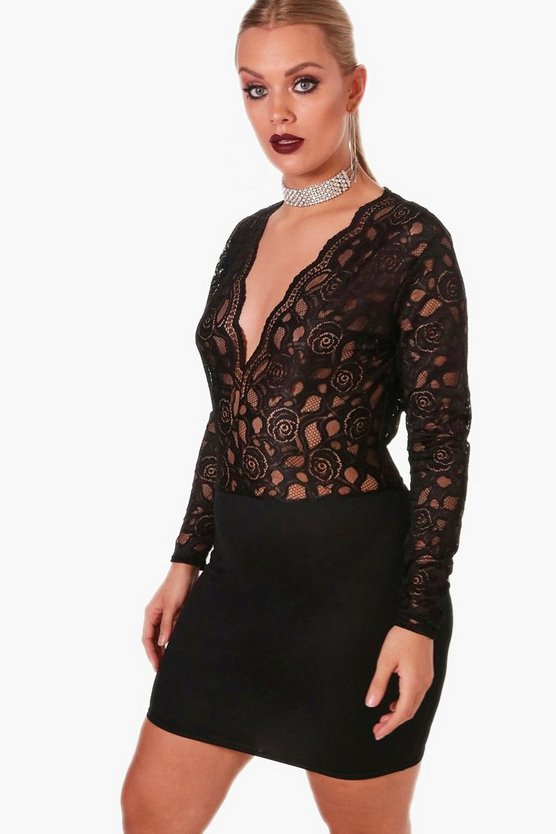 Plus Plunge Lace V Neck Bodycon Dress