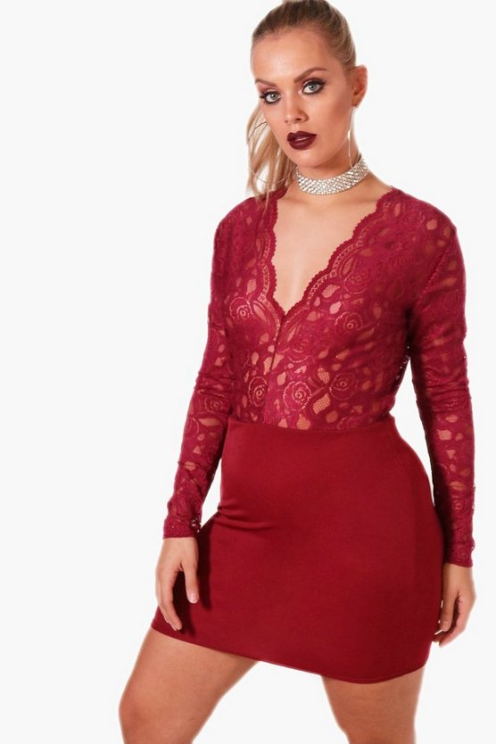 Plus Katie Plunge Lace V Neck Bodycon Dress
