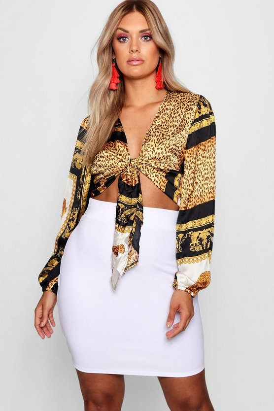 Plus Gemma Collins Chain Print Tie Front Top by Boohoo