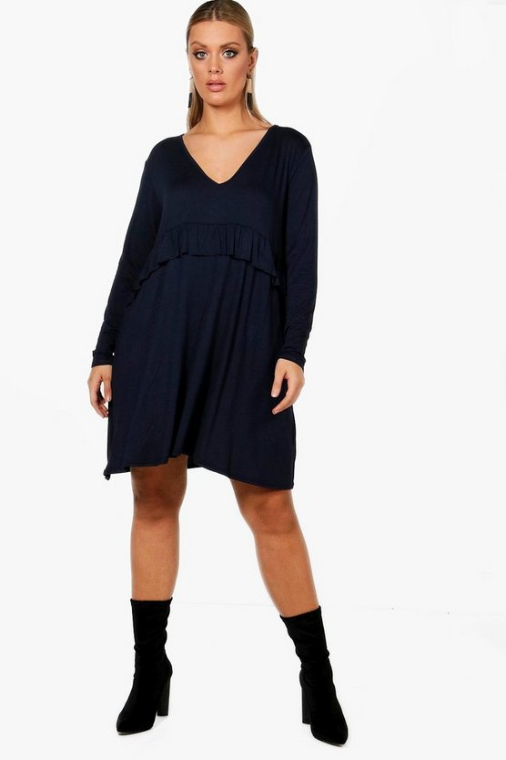Plus Sadie Long Sleeve Ruffle Front Swing Dress