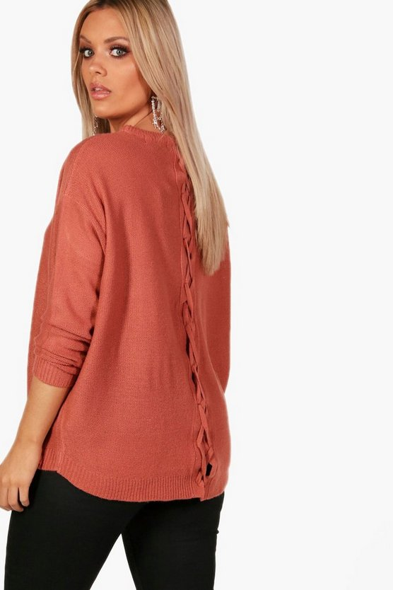 Plus Claire Lace Up Back Longline Jumper