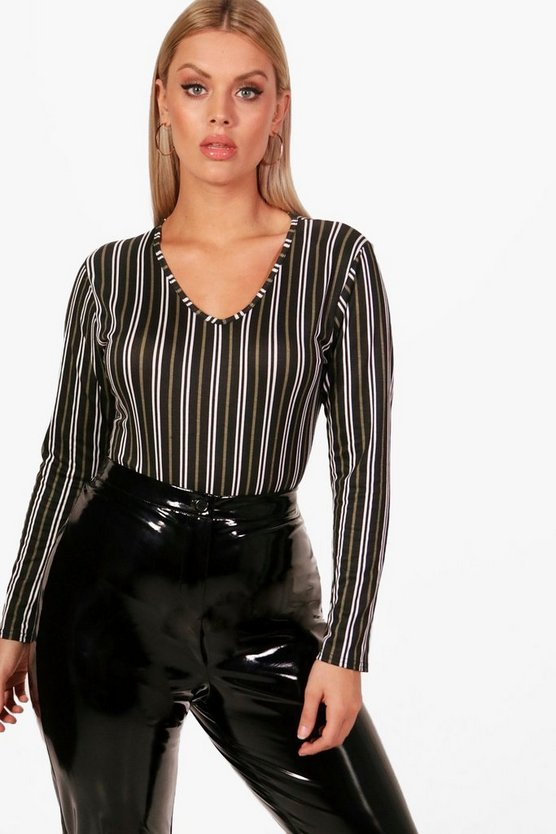 Plus Emma Stripe V Neck Bodysuit