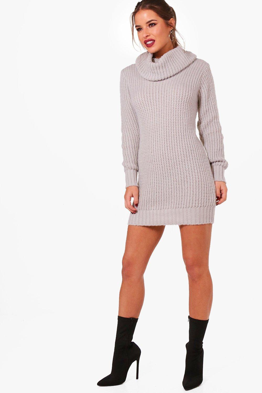 petite amber oversized soft knit cowl neck jumper | boohoo