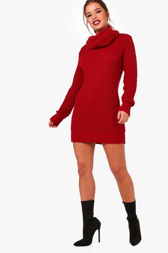 Petite Amber Oversized Soft Knit Cowl Neck Jumper