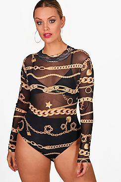 Plus Jas Chain Print Mesh Bodysuit