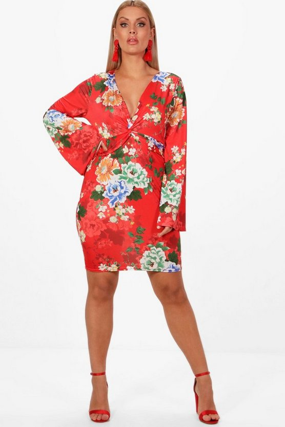 Plus Sadie Knot Front Plunge Oriental Print Dress