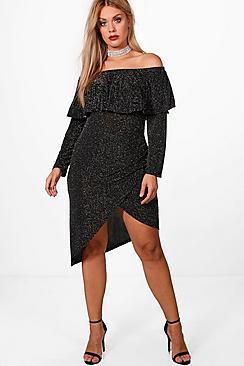 Plus Lisa Lurex Bardot Frill Dress
