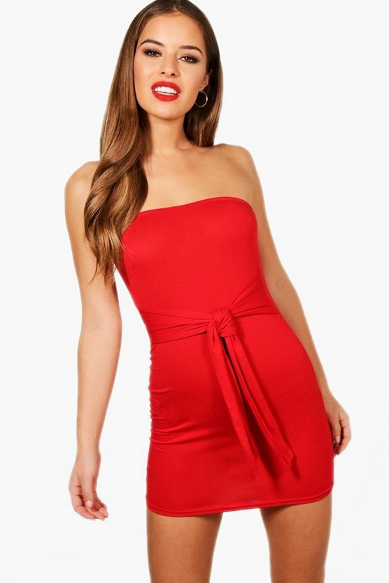 Petite Rebecca Knot Front Belted Basic Dress