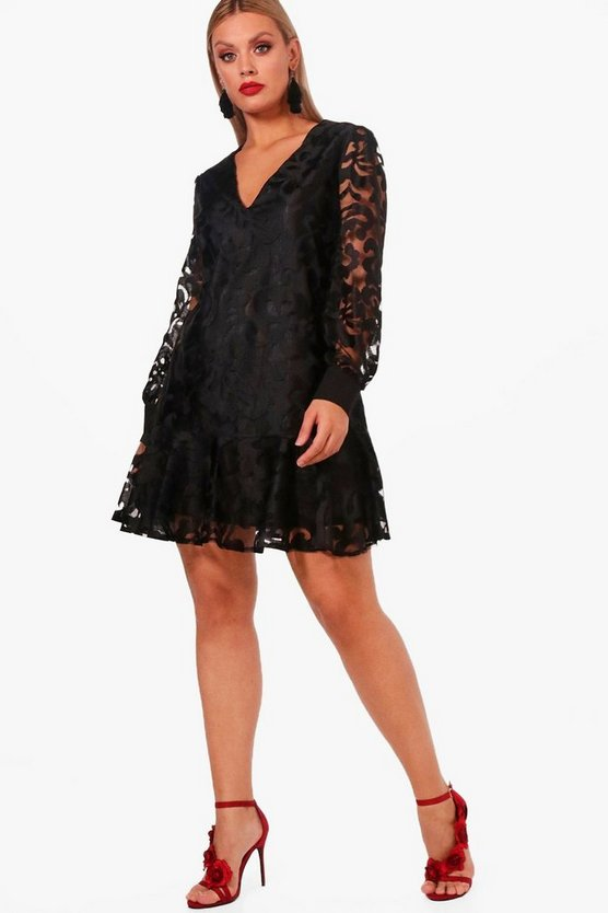 Plus Jenna Tapestry Drop Hem Skater Dress