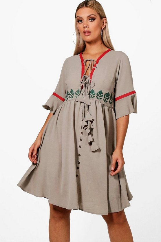 Plus Embroidered Flute Sleeve Skater Dress