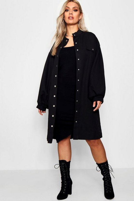 Plus Oversized Sleeve Trench Coat
