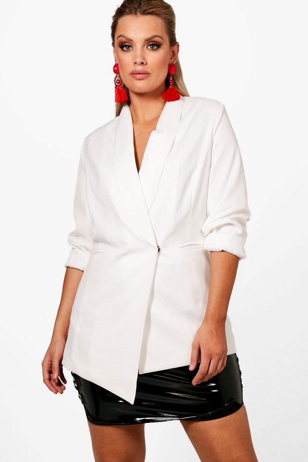 Boohoo Plus Asymmetric Wrap Blazer Amazon Cheap Price How Much Buy Cheap Hot Sale M4X5RJdN