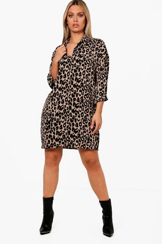 Plus Leopard Print Shirt Dress