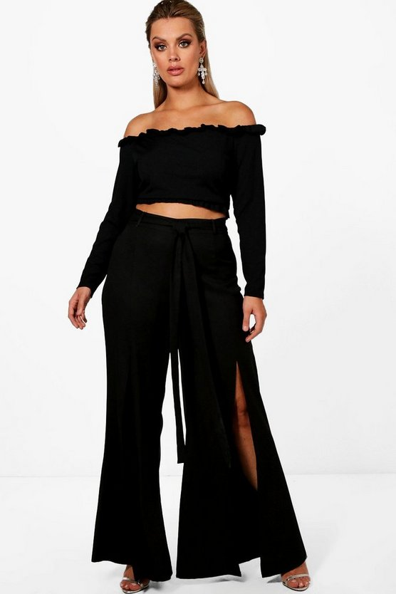 Plus Frankie Split Front Wide Leg Trouser