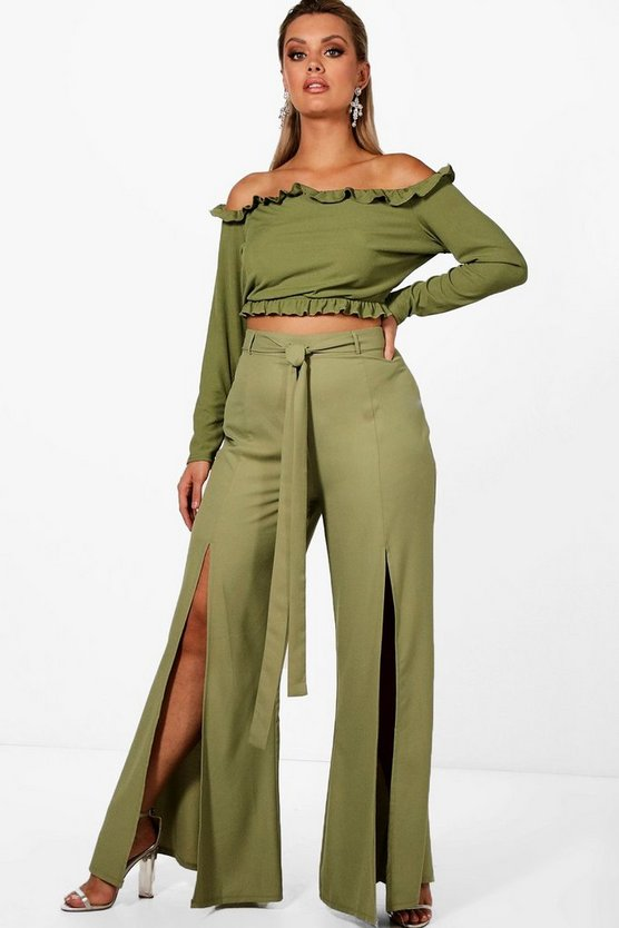 Plus Split Front Wide Leg Trouser