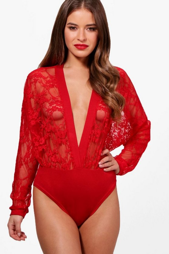 Petite Sally Lace Plunge Front Bodysuit