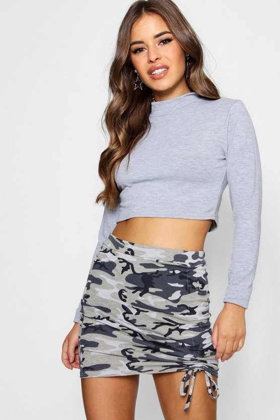 Petite Natalie Basic Knitted Turtle Neck Crop Top