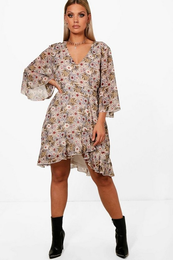 Plus Amy Ruffle Flute Sleeve Tea Dress