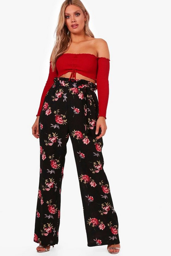 Plus Woven Dark Floral Wide Leg Trousers