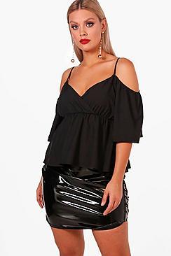 Plus Bluse mit drapierter Front und ausgeschnittenen Schultern - Boohoo.com