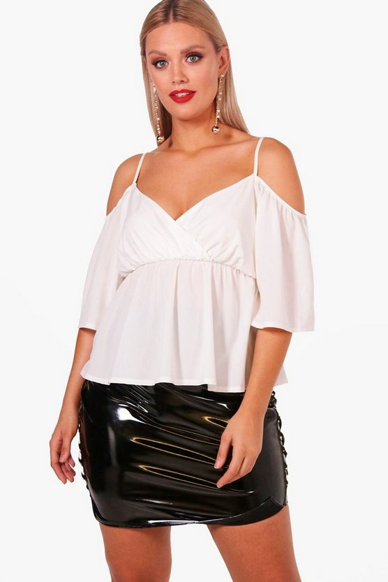 Plus Drape Front Cold Shoulder Blouse
