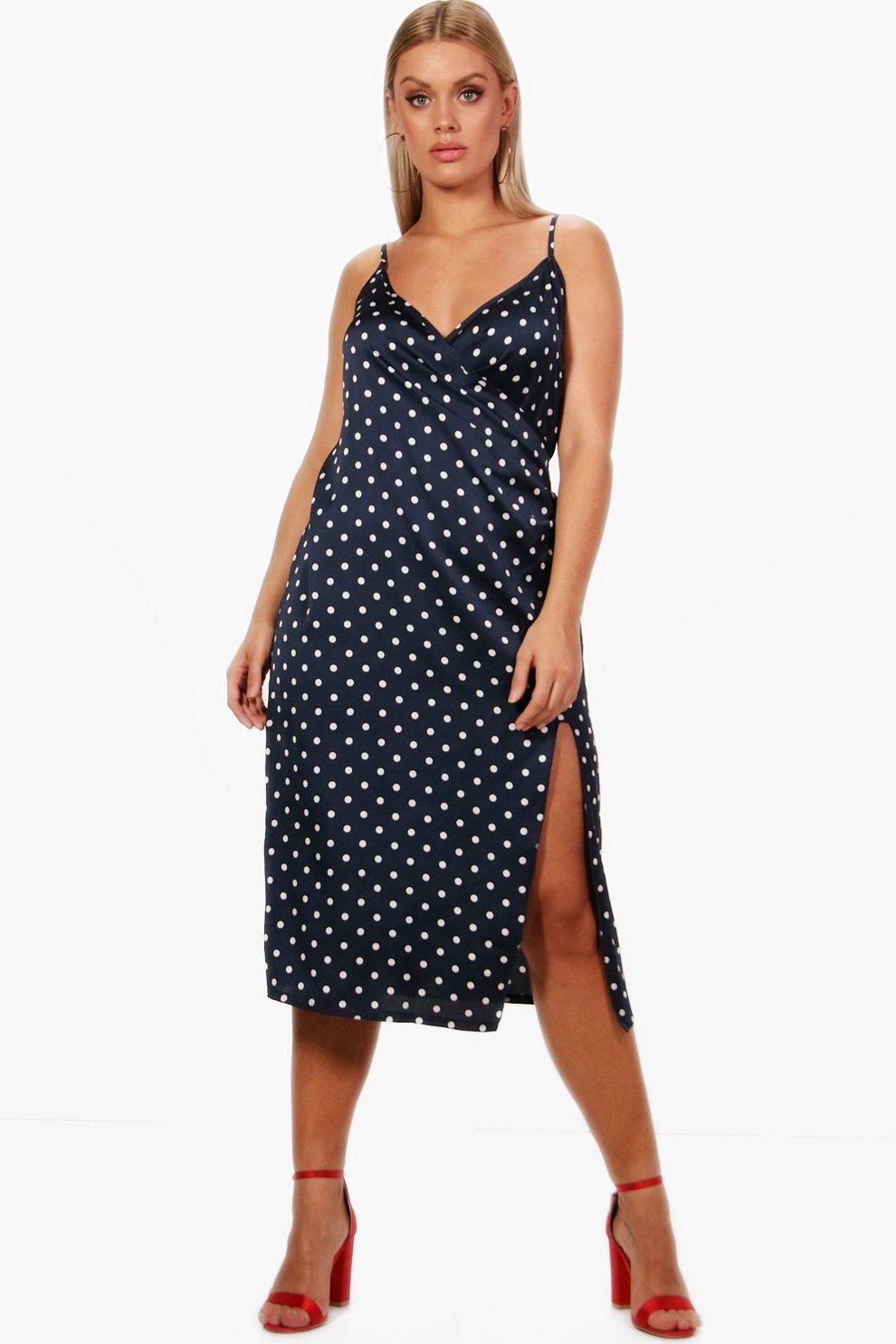 Boohoo Plus Spot Print Strappy Silky Wrap Dress Professional Cheap Online Clearance Comfortable UJCbmh