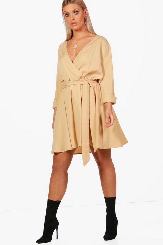 Plus Wrap Front Skater Dress by Boohoo