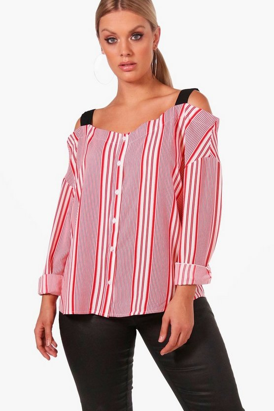 Plus Felicity Contrast Stripe Cold Shoulder Blouse