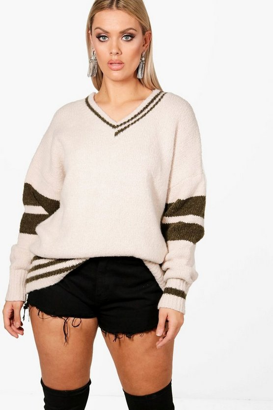 Plus Rachel Varsity Stripe Sleeve Jumper