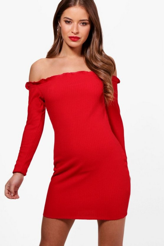 Petite Laura Rib Knit Bardot Dress
