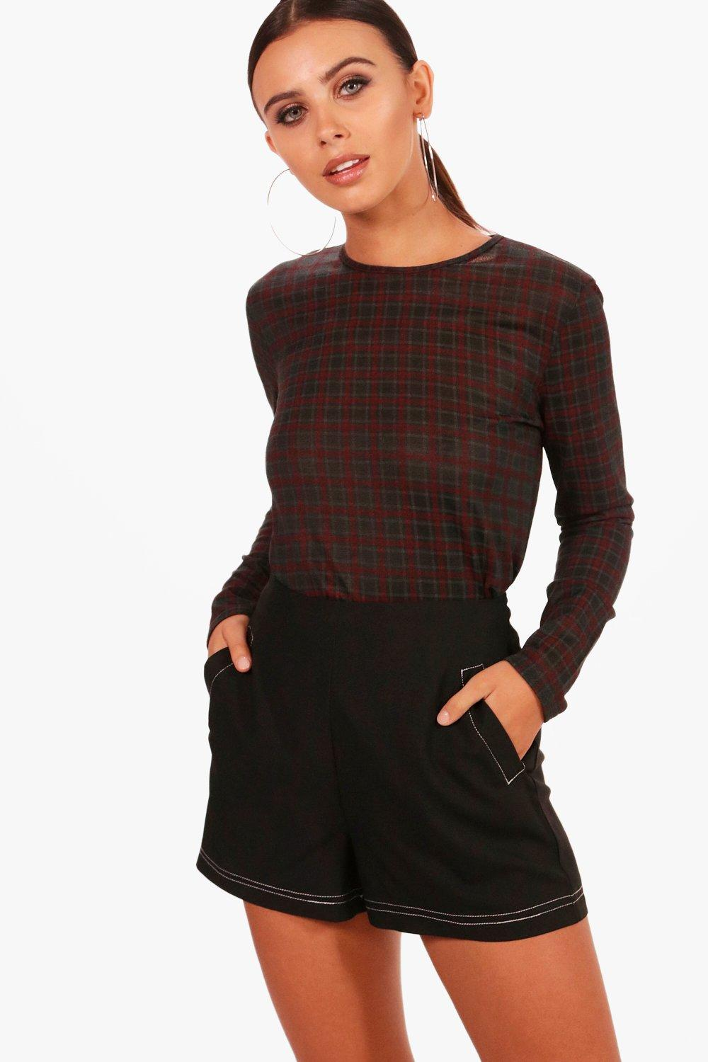petite lana knitted check side split jumper | boohoo