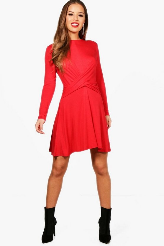Petite Alice Knot Front Skater Dress