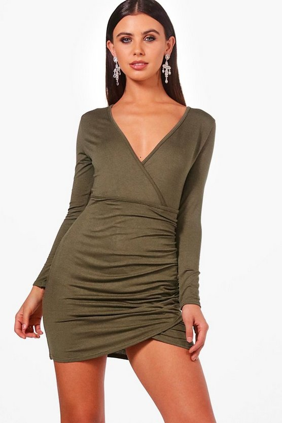 Petite Alana Wrap Front Basic Dress