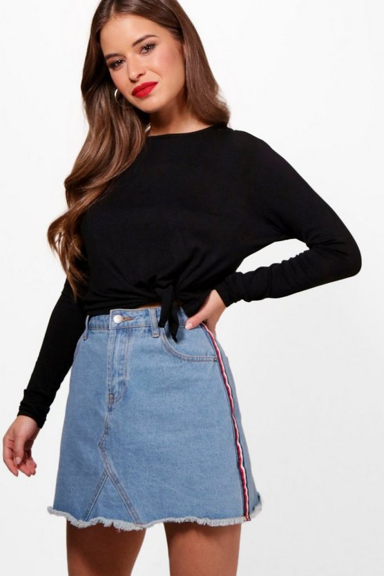 Petite Paige Tie Front Long Sleeve Top by Boohoo