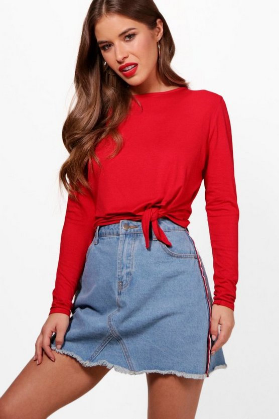 Petite Paige Tie Front Long Sleeve Top