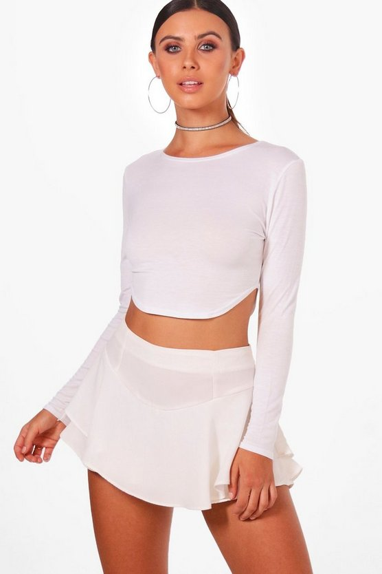 Petite Curve Hem Long Sleeve Crop Top