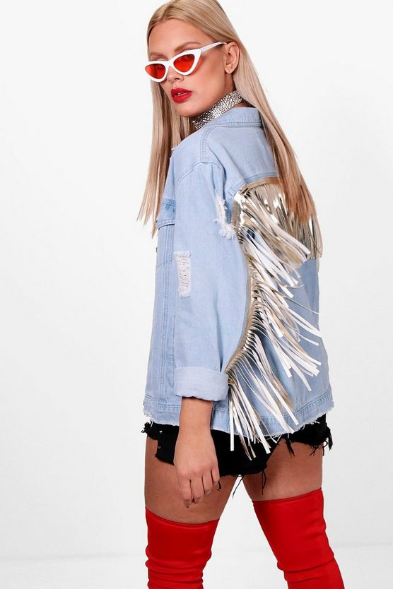 Plus Tassel Detail Denim Jacket