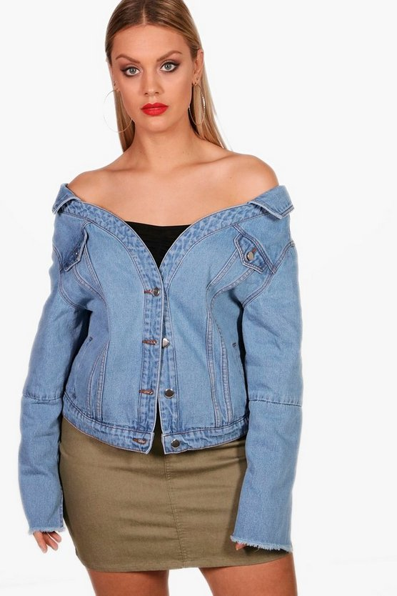 Plus Bryony Off Shoulder Denim Jacket