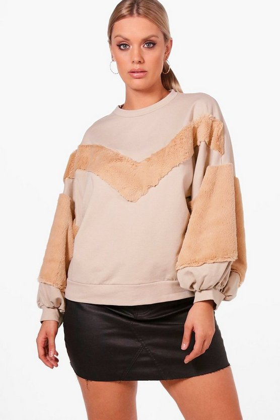 Plus Faux Fur Trim Sweat Top