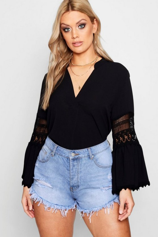 Plus Lydia Lace Detail Flute Sleeve Top