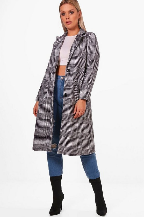 Plus Checked Wool Look Coat
